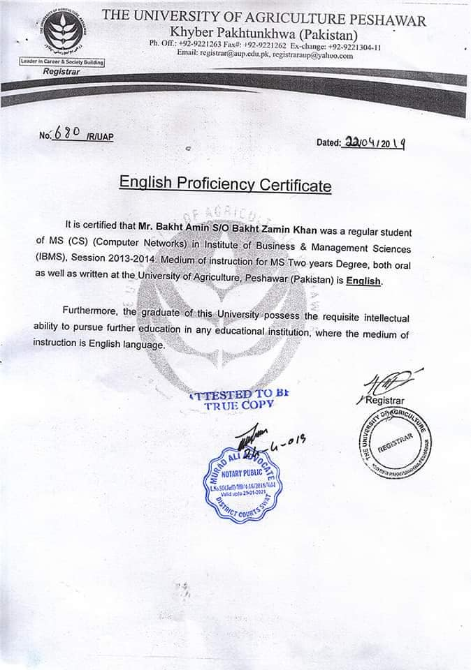 English Proficiency Certificate for CSC Scholarship sample